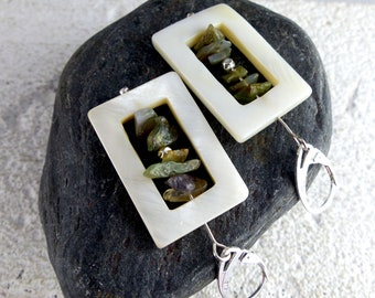 """White NACRE MOSS AGATE Sterling Silver earrings """"Sara"""", genuine gemstone dangle statement sustainable ecofriendly one-of-a-kind Bridal gift"""