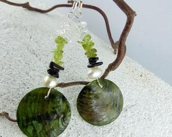 "GREEN NACRE EARRINGS ""Soan"", sustainable dangle sterling silver earrings, shades of grey green Fluorite Smoky quartz Rock crystal gemstones"
