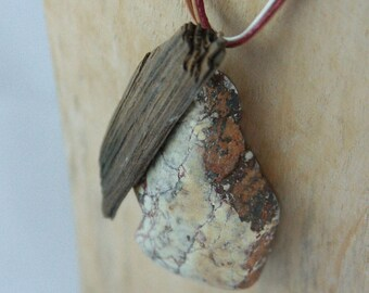 SYLT - long Driftwood STONE NECKLACE Boho Hippie natural design hand-carved pendant, sustainable eco fashion gift girls women mother