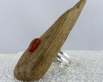 ADJUSTABLE Driftwood Amber SILVER RING, natural look sustainable fashion wooden ring, ecofriendly jewelry unique gift her, fits any size!!