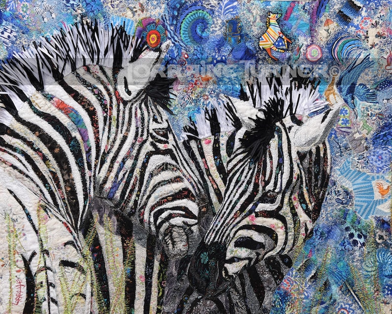 Colorful Zebras Greeting Giclée image 0