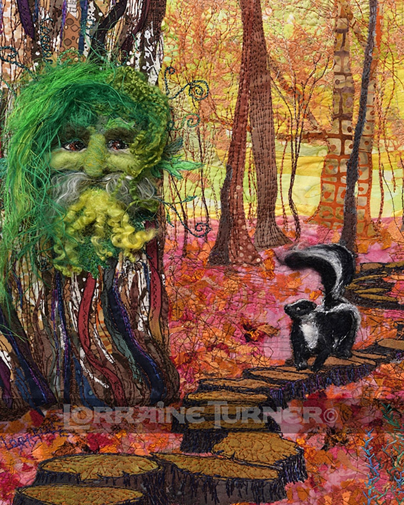 Green Man and Skunk Giclée image 0