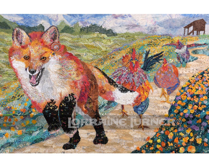 Fox Chased By Empowered Chickens Giclée image 0