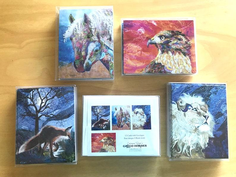 Wildlife Textile Art Note Cards Set image 0