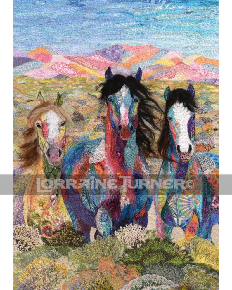Calico Wild Horses in Desert Giclée image 0