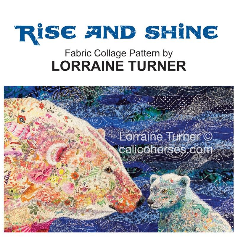 Fabric Collage Polar Bear Pattern Lorraine Turner PRINT image 0