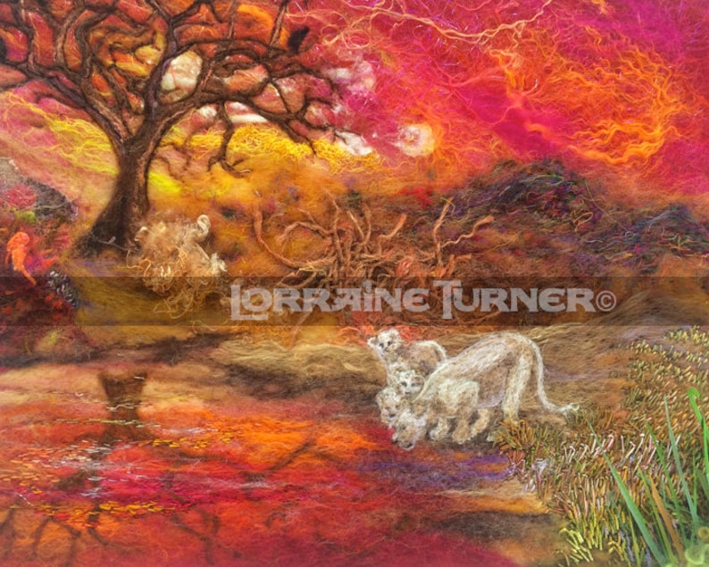 White Lions Sunset Reflections Giclée image 0