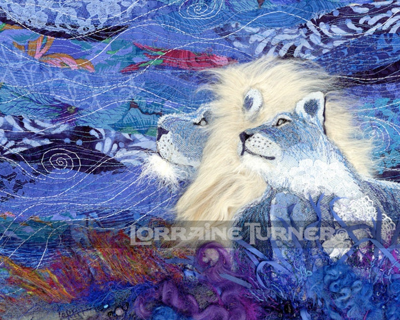White Lions in Denim and Lace Giclée image 0