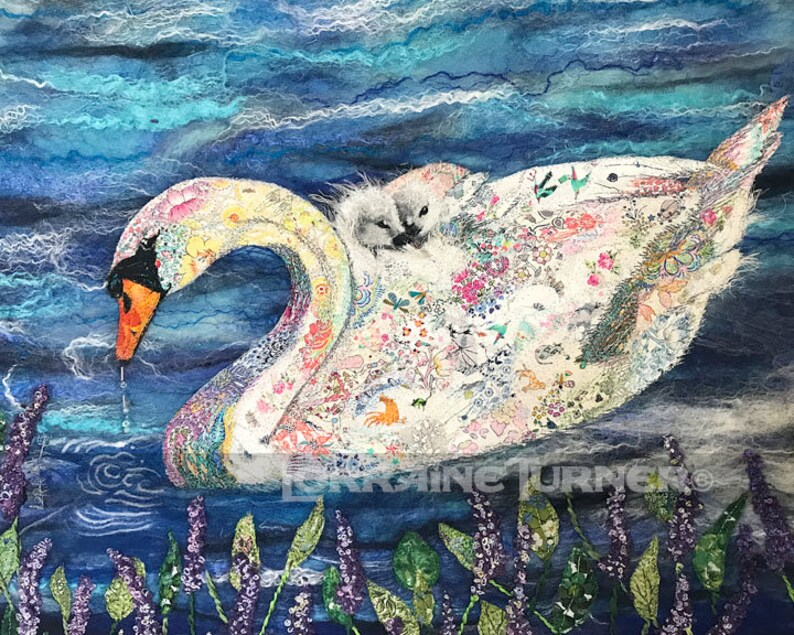 Baby and Mother Swans Textile Art image 0