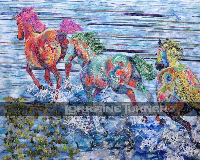 Wild Horses Running in Ocean image 0