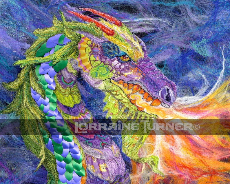 Fire Breathing Dragon Textile Art Giclée image 0