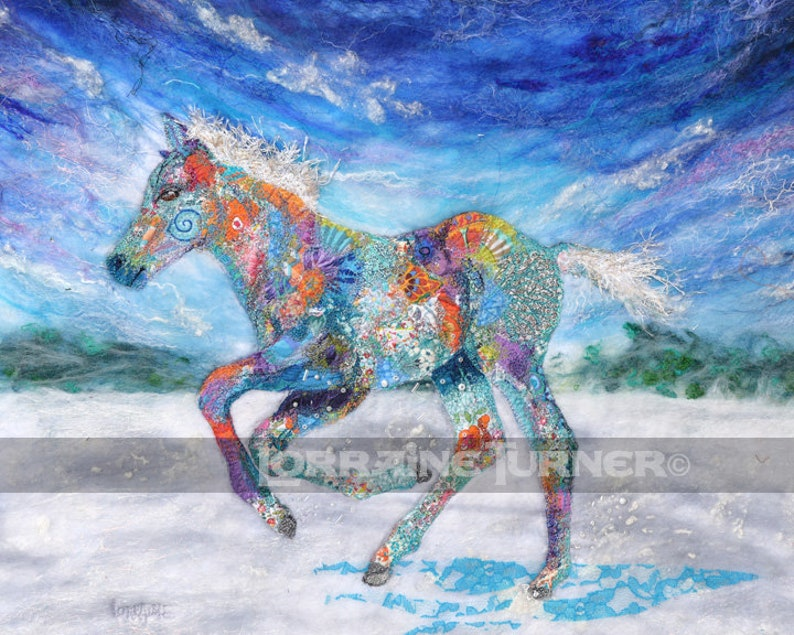 Foal Galloping in Snow Giclée image 0