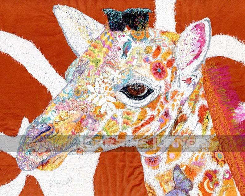 Baby Giraffe Textile Illustrated 11 x 14 Giclée image 0