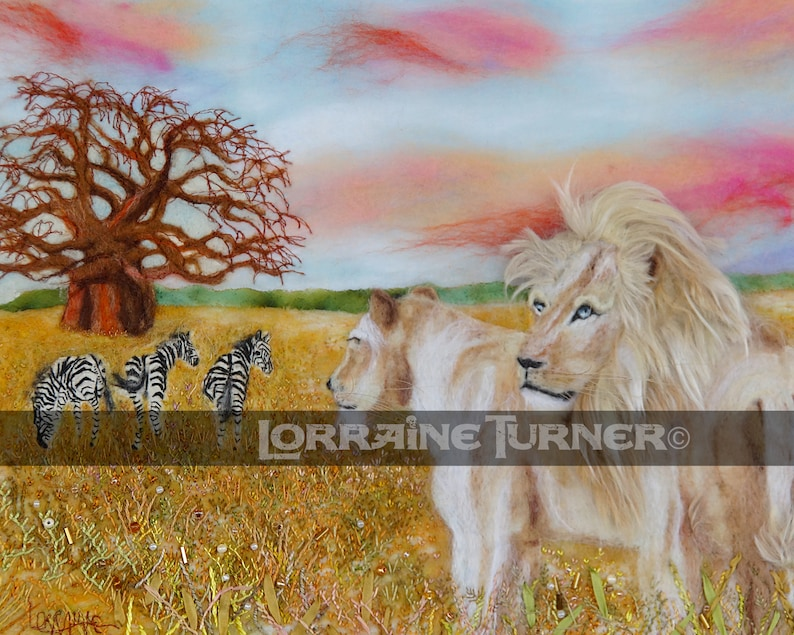 White Lions and Zebras  Giclée image 0