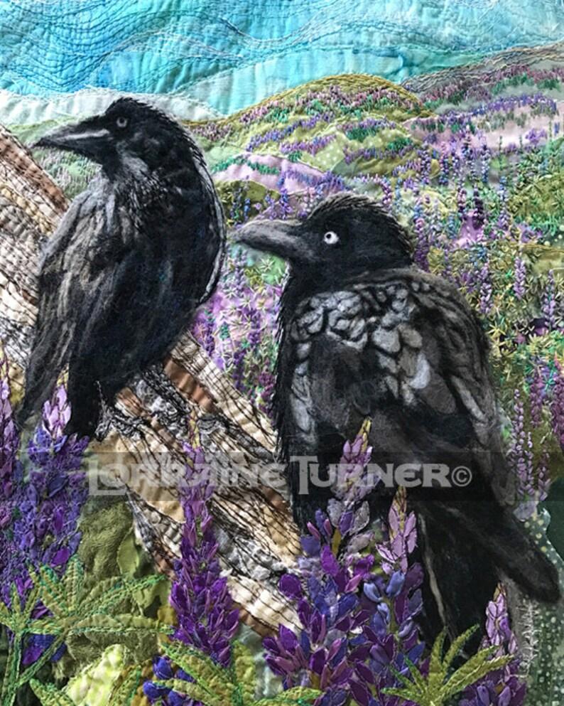 Ravens in Purple Lupine Large Giclée image 0