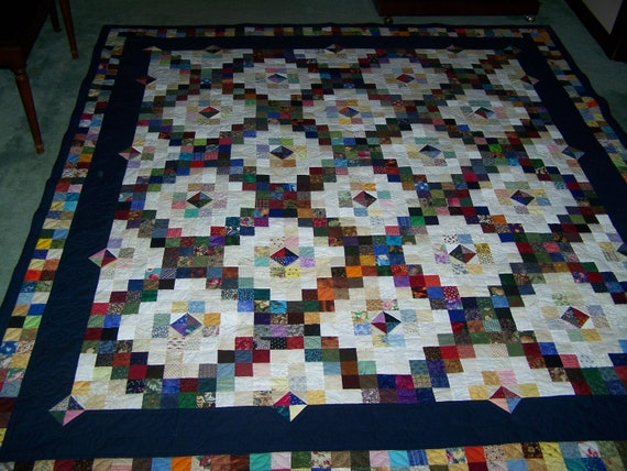 Scrappy Double Irish Chain with a Twist Quilt Pattern