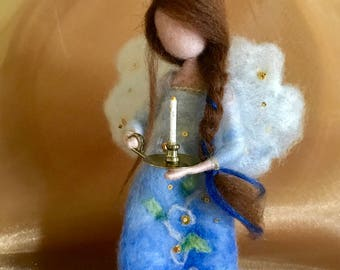 Needle felted angel, Waldorf inspired, Wool Angel in blue dress, Soft sculpture, Art doll, Gift, Wool Doll, Doll miniature, Christmas angel
