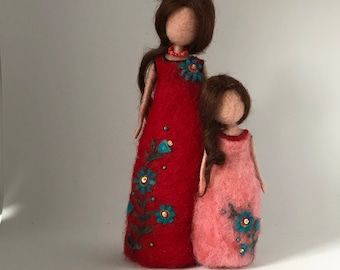 Needle felted doll, Waldorf inspired, Wool doll,Mother and daughter, Doll miniature,Soft sculpture, Art doll,Red, Pink