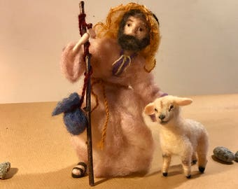 Needle felted shepherd, Needle felted Nativity, Waldorf, Good shepherd and sheep