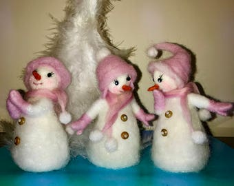 Needle felted snowman, Waldorf inspired, Christmas Snowmen, Soft sculpture, Wool snowman, gift, Christmas ornament