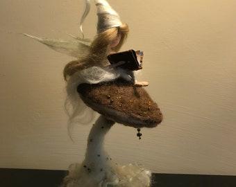 Needle felted fairy, Waldorf inspired, Needle felted mushroom,  Art doll, Children room, Wool fairy, Gift, Wool doll, Tale, White fairy