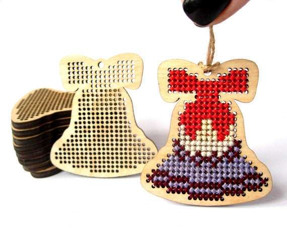 Christmas Bell Images.Wooden Christmas Bell Cross Stitch Blank Cross Stitch Pendant Christmas Gift Tag Diy Christmas Tree Decor Farmhouse Christmas Ornament