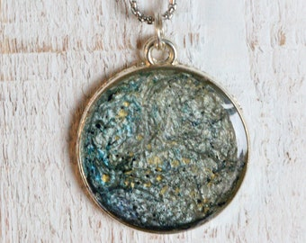 """Long """"lunar"""" necklace with hand-painted silver medallion, blue, white and yellow"""