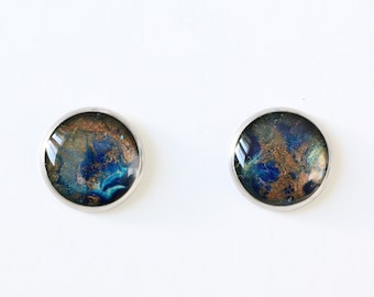 Hand-painted earrings in blue, turquoise and bronze colours on a round stainless steel holder