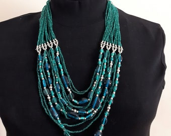 Multistrand Necklace, Emerald Green Necklace, Statement Necklace, Custom Jewelry, Victorian Jewelry, Blue Necklace, Beaded Necklace, Gifts