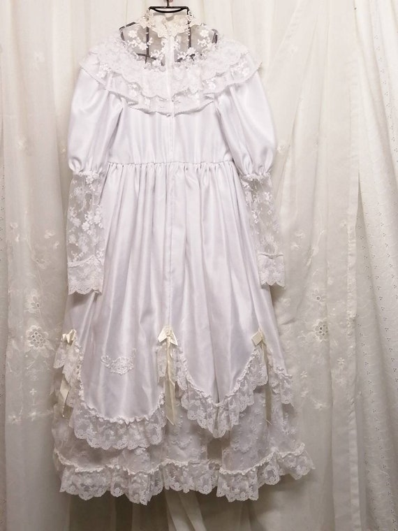 Vintage First Communion White Dress, Lace White Dr