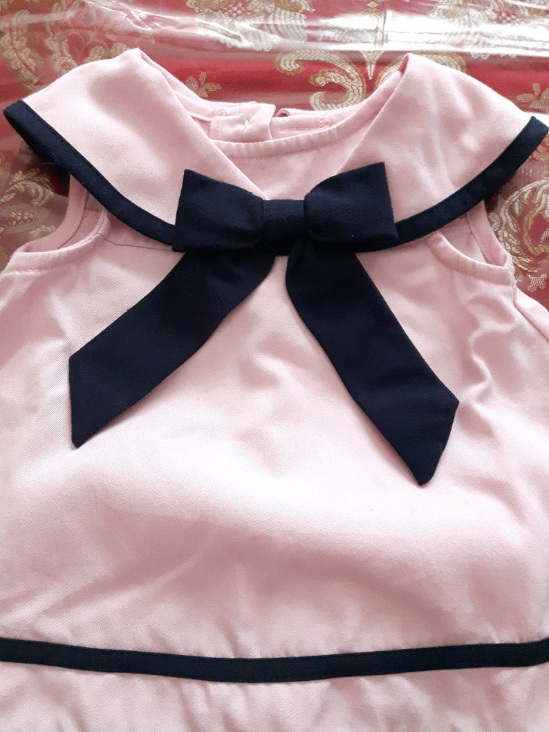 Pink Little Girls Sailors Dress with Pants Birthday Party Outfit Navy Blue Trimming and Bow Beach Sailors Pant Suit Nautical Girl Dress
