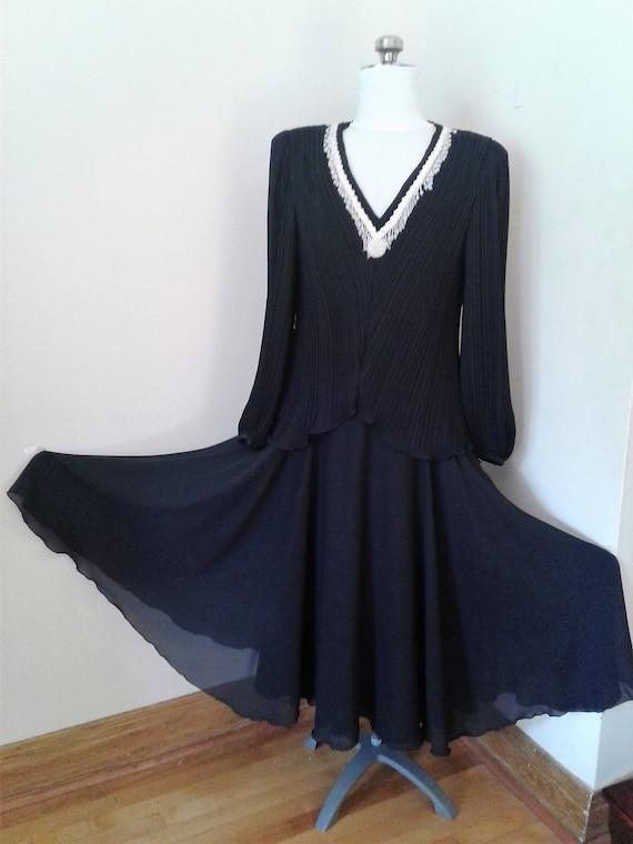 Black Long Chiffon Dress, Evening Dresses, Cocktai