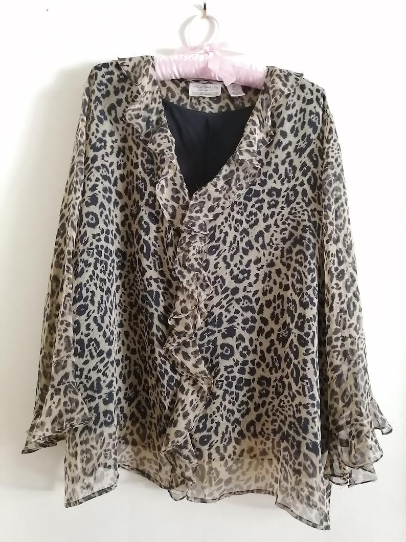Size 3X  for New York City Design Co Sheer Animal Print Ruffle Blouse,Leopard Print Cascading Ruffled Women/'s Blouse,100/% Silk Woman.