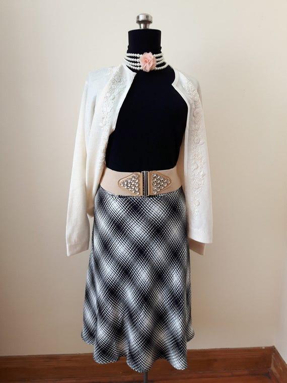Women's Houndstooth Skirt, Circle Skirt, Long Skir