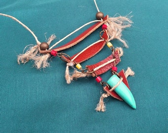 Indian - leather, hemp and turquoise bib necklace