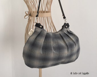 Shoulder bag, grey bag, shoulder bag, women's bag, grey handbag, handmade bag, Japanese fabric bag