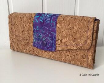 Wallets, big wallets, women wallets, cork wallets, batik fabric wallets, purses, purple wallets, veg wallets