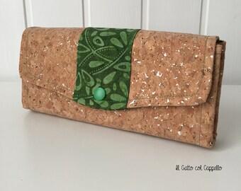 Wallets, big wallets, women wallets, cork wallets, batik fabric wallets, purses, green wallets