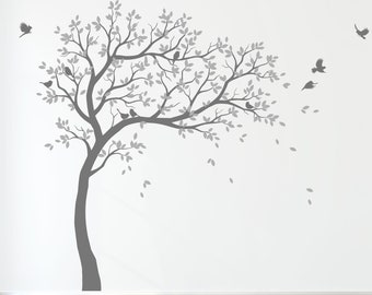 Wall Decal Large Tree decals huge tree decal nursery with birds tree Wall mural removable vinyl wall sticker 032R