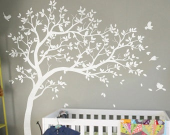 White Tree Wall Decals Nursery Large Wall Decal Kids Room Wall Art Decor  Wall Mural Sticker 032R