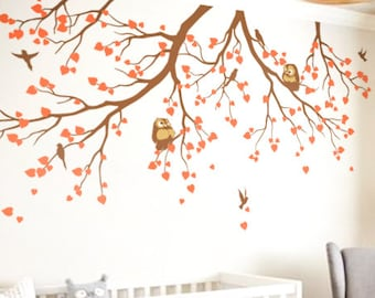 Nursery tree branches wall decals with dreamy owls and flying birds White tree wall decals Nursery decorations Wall tattoos stickers KW009