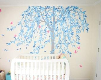 Large willow tree wall decal nursery tree wall sticker murals butterfly wall art decor wall tattoo KW020