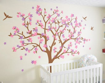 Huge tree wall decal cherry blossom wall art sticker colorful floral wall decor mural with birds KW013
