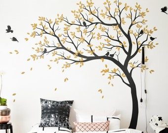 Wall Decal Large Tree decals huge tree decal nursery with birds white tree  decals Wall tattoos Wall mural removable vinyl wall sticker 032 75baa32814