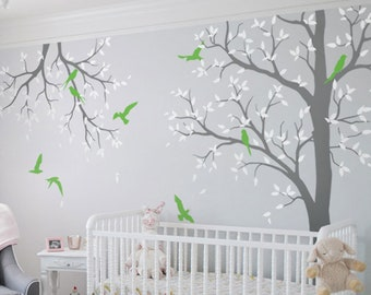 f1150262fafe Tree wall decal nursery with branch wall decor nursery wall art sticker  mural white tree wall decals tattoo KW016-2