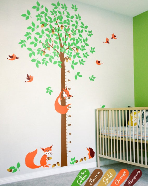 Large tree wall decal with growth chart nursery tree etsy