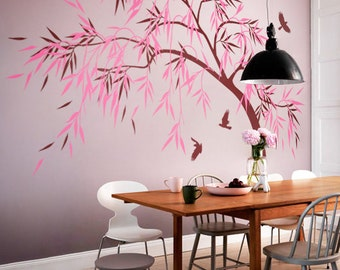 Dining room wall decoration, Hallway tree decals, Dining area tree wall decor, Apartment wall decals, Large tree with birds KW028_2