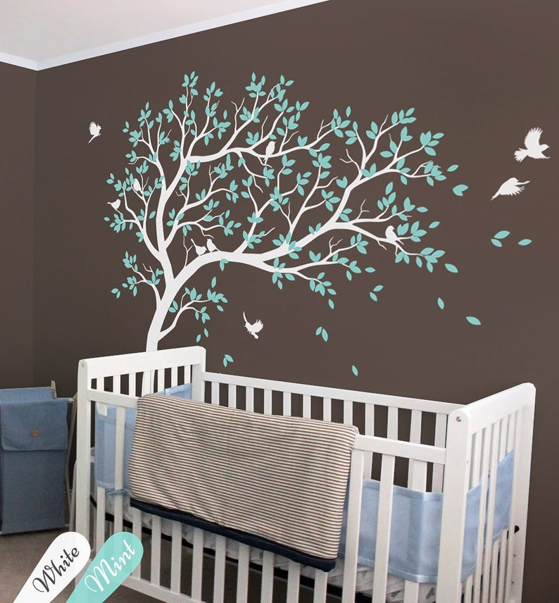 . White Tree Wall Decals Nursery Large Tree Wall Decal Kids Room Wall Art  Decor Wall mural sticker 032R