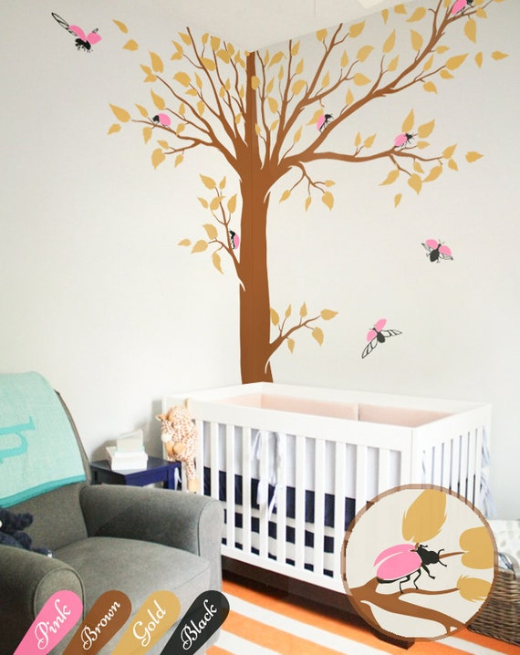 Large Tree Wall Decal with personalised baby name and birds Corner Tree decals Wall decoration Wall tattoo KW006/_2