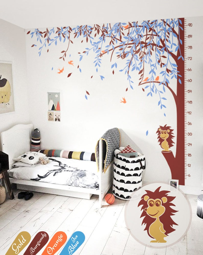 Large tree wall decal willow tree wall mural sticker with growth chart and hedgehog nursery wall art decor KW026